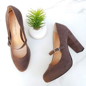 'Whitney' Mary Jane Suede Heels in Taupe